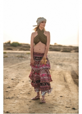 Bohemian Style Skirt with Frile